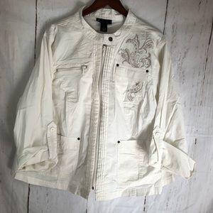 Lane Bryant cream light embellished jacket sz 28
